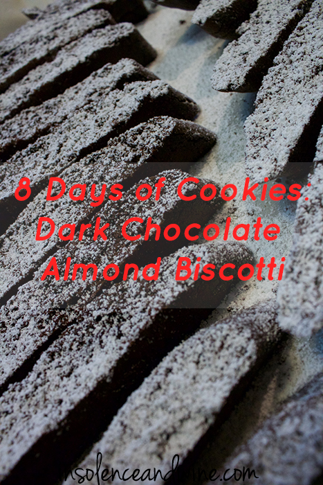 dark chocolate almond biscotti insolence + wine
