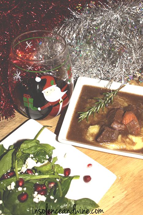 polenta + stew insolence + wine