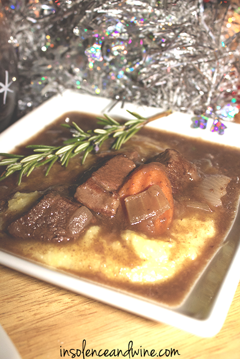 polenta and stew insolence + wine