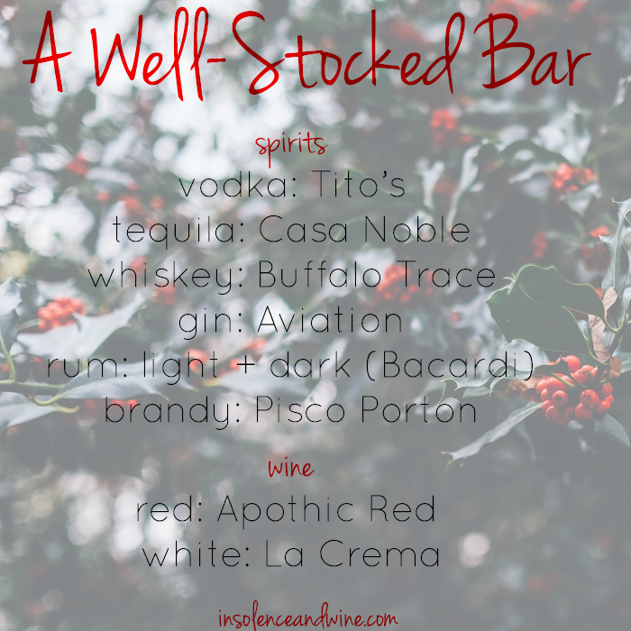 well-stocked bar for the holidays insolence + wine