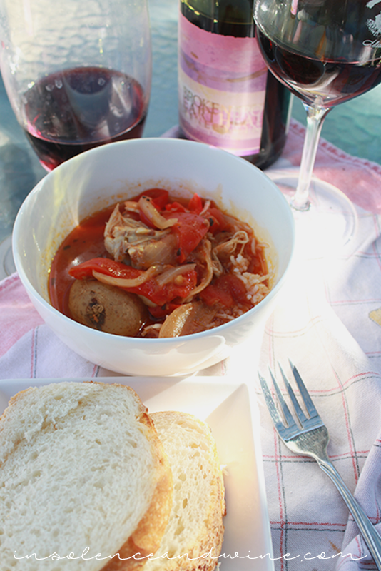 spanish chicken and chorizo stew insolence + wine