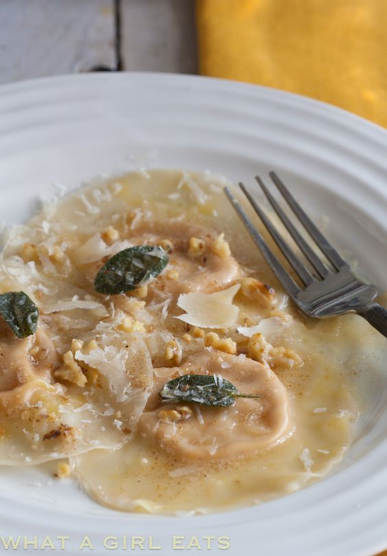 Pumpkin Ravioli With Browned Butter, Sage And Walnuts