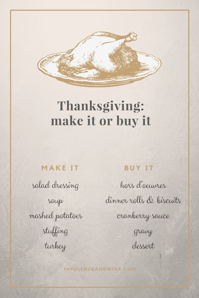 Thanksgiving dishes to make or buy insolence + wine