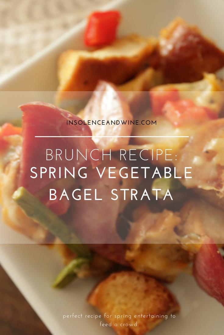 Brunch Recipe: Spring Vegetable Bagel Strata  insolence + wine