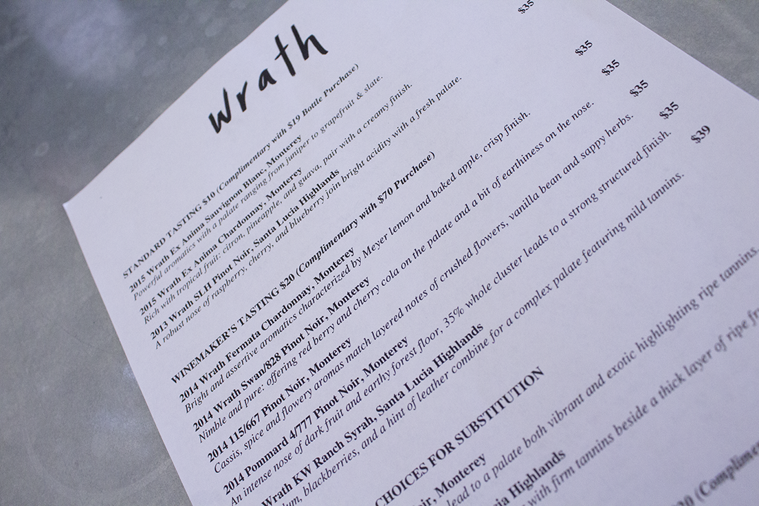 Wrath Winery Tasting Menu Spring 2017