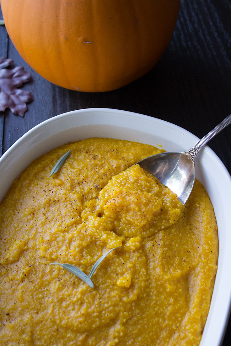 Traditional polenta has been given a fall twist with pumpkin and autumn spices, making a side dish begging to be served with braised meats or hearty stews.