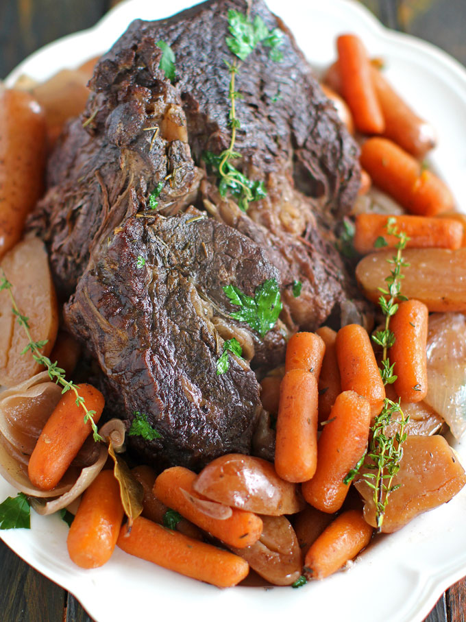 Slow cooker pot roast with red wine from  Sweet & Savory Meals .