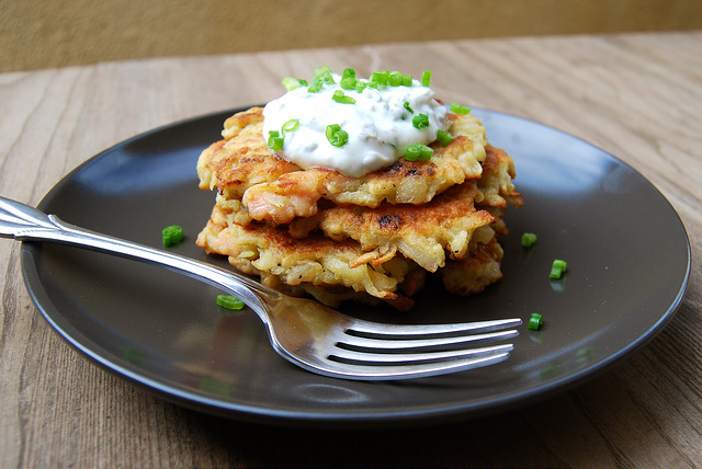 These smoked salmon latkes from  Rachel Phipps  are served with a lemon and caper sour cream.