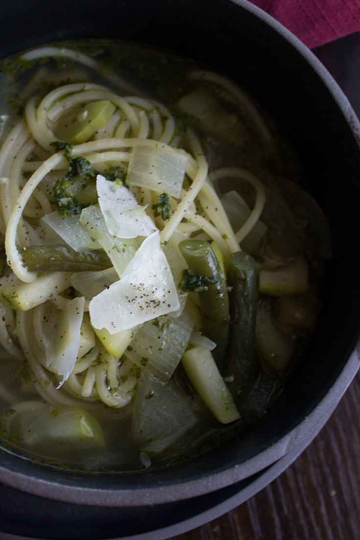 This homemade minestrone soup is loaded with vegetables and can easily be made vegetarian.
