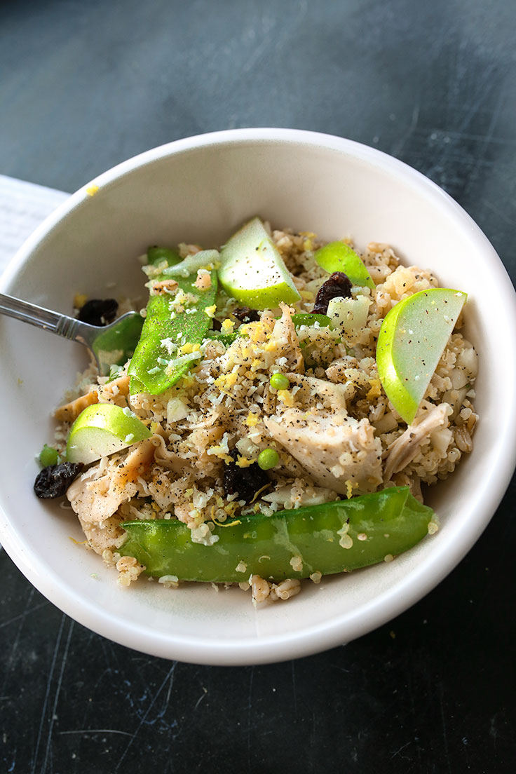 A quick and easy grain salad using leftover chicken and fresh fennel.