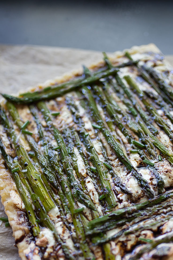 Serve this savory asparagus and goat cheese puff pastry tart alongside a citrusy sauvignon blanc.