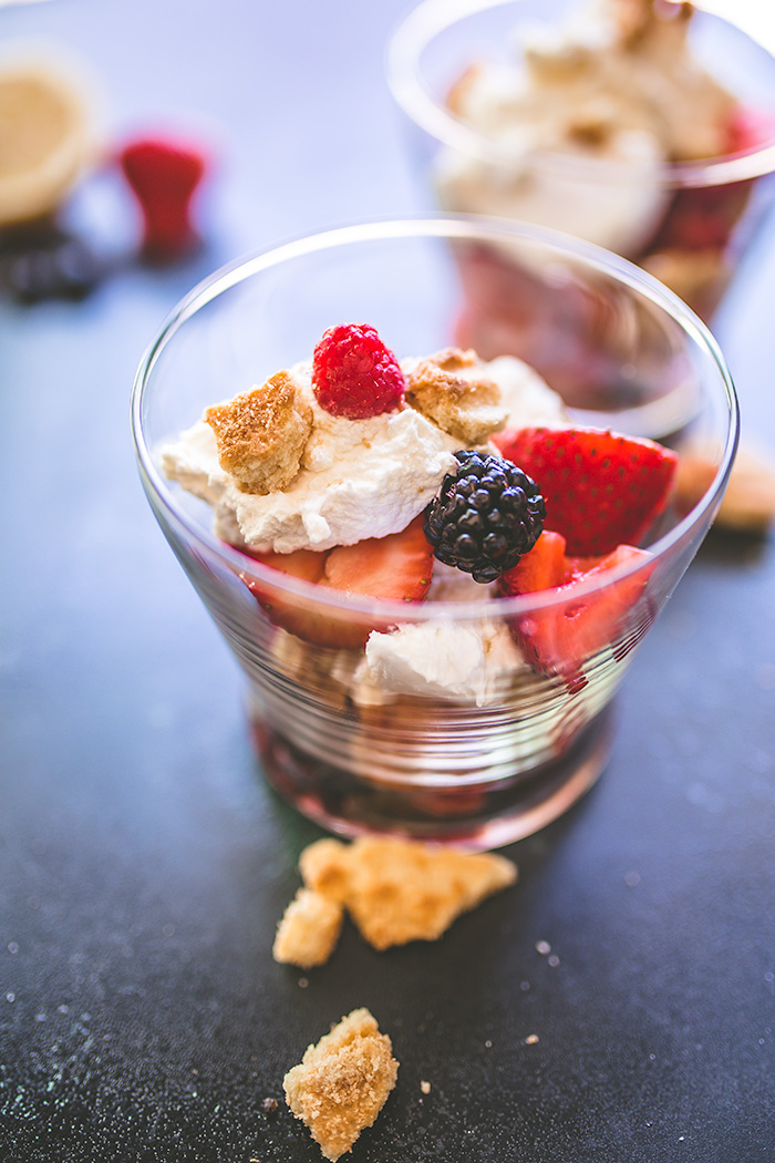 With layers of mascarpone whipped cream, shortbread cookie crumbs, this berry parfait is an easy summer dessert that requires no cooking.