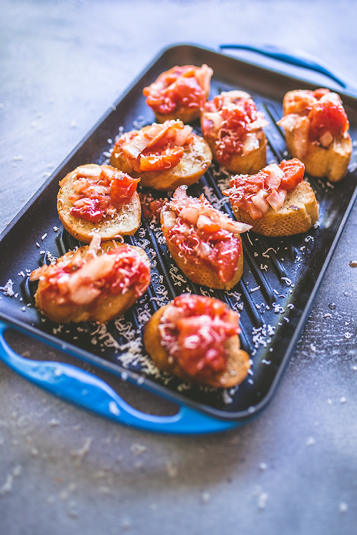 This bruschetta is made on the grill, which makes it perfect for outdoor adventures.