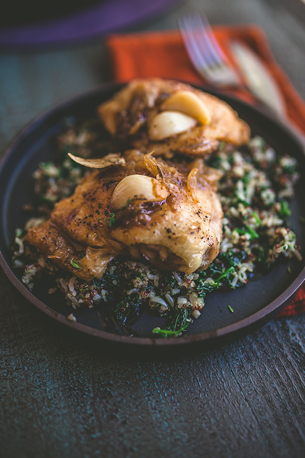 Roasted garlic chicken thighs is the ultimate fall comfort. | insolenceandwine.com