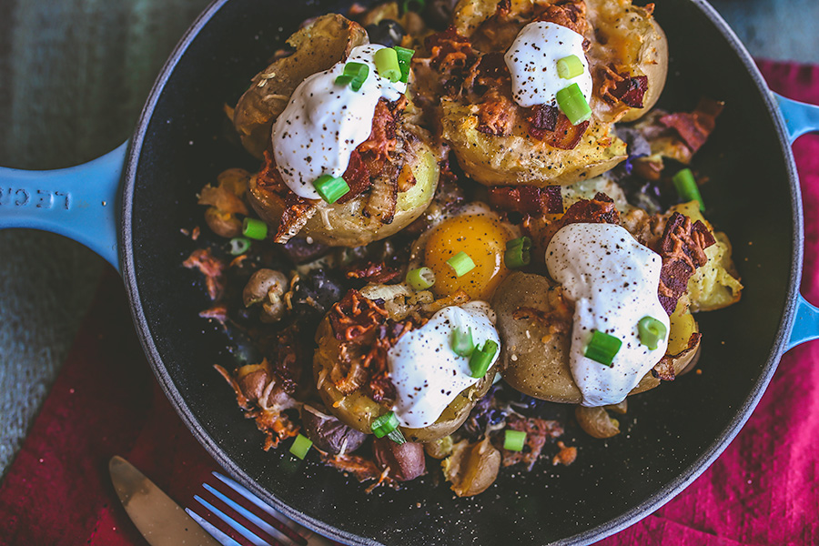 Triple cooked loaded smashed potatoes taste just like a baked potato, only better. | insolenceandwine.com