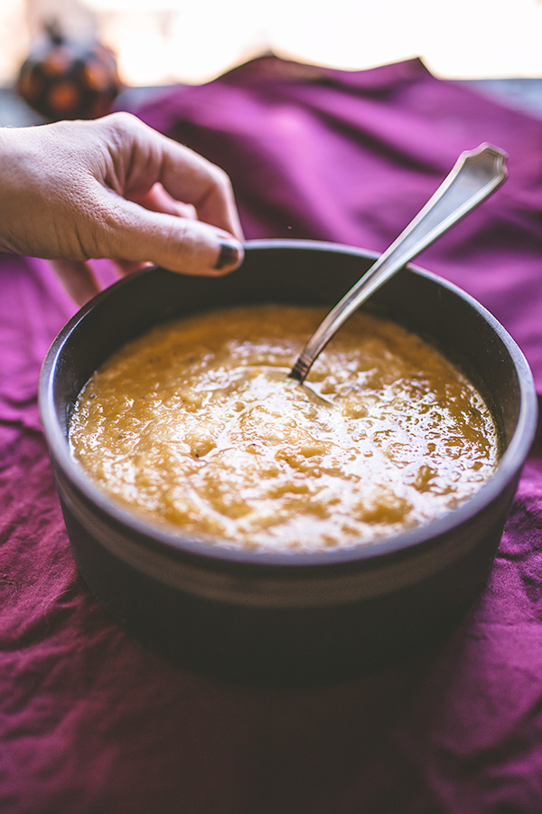 A simple yet complex apple and butternut squash soup with autumn.