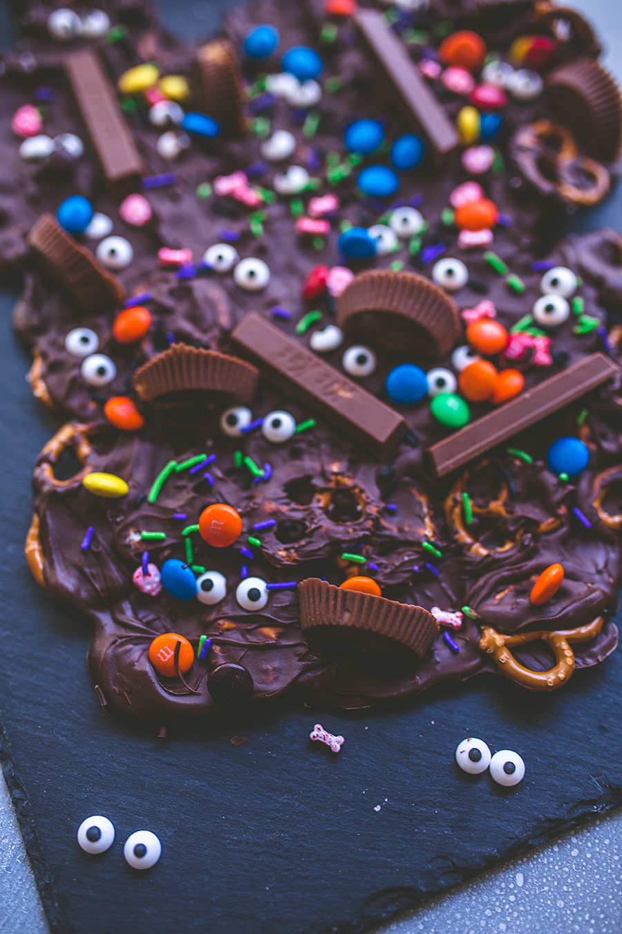 No cook Halloween candy monster bark is good enough to mash to.
