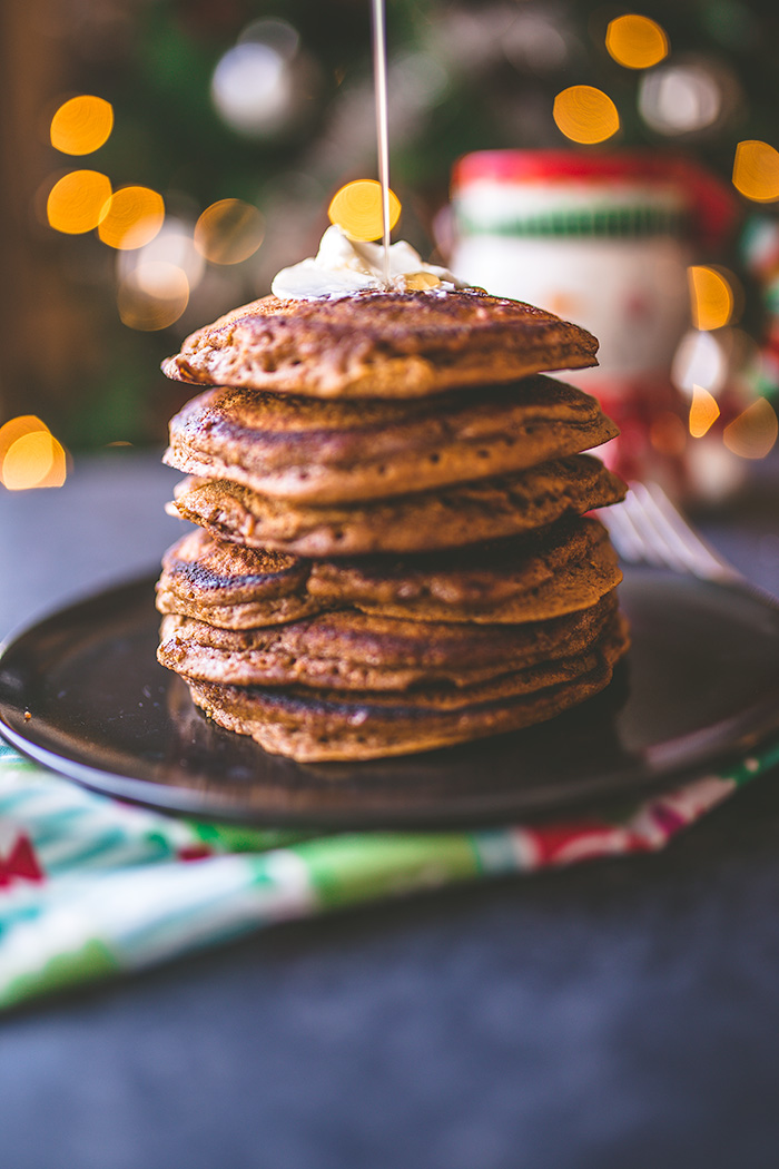 Light and fluffy gingerbread pancakes make a perfect breakfast on a cold winter morning. | insolenceandwine.com