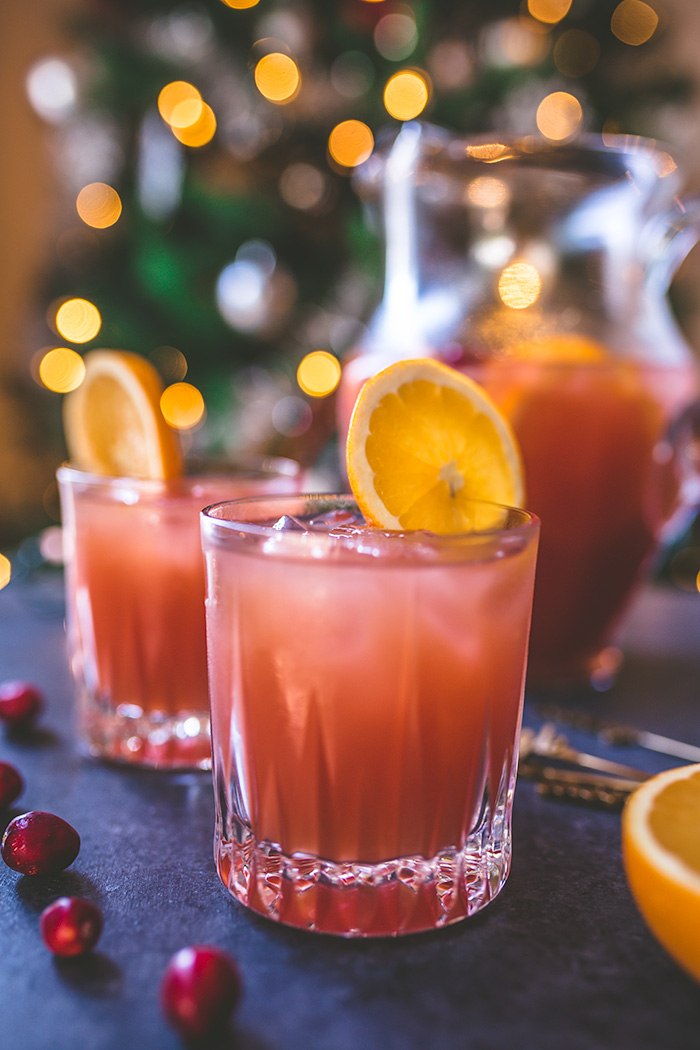 Holiday spiced cranberry-orange punch.