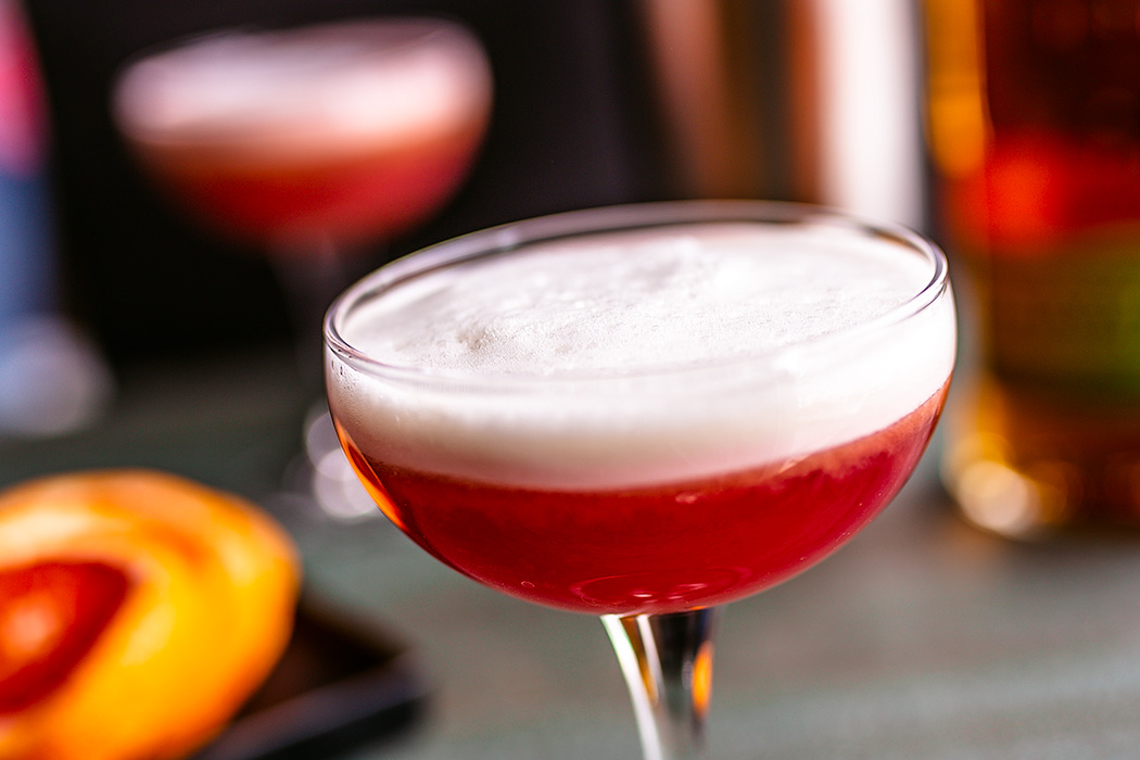 An old favorite has been given a delicious twist with in-season blood oranges and rye bourbon.