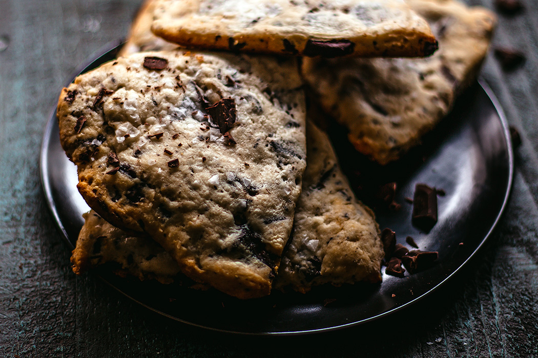 Sea salt chocolate chunk scones are the perfect midday boost or Sunday brunch.   insolenceandwine.com #scones