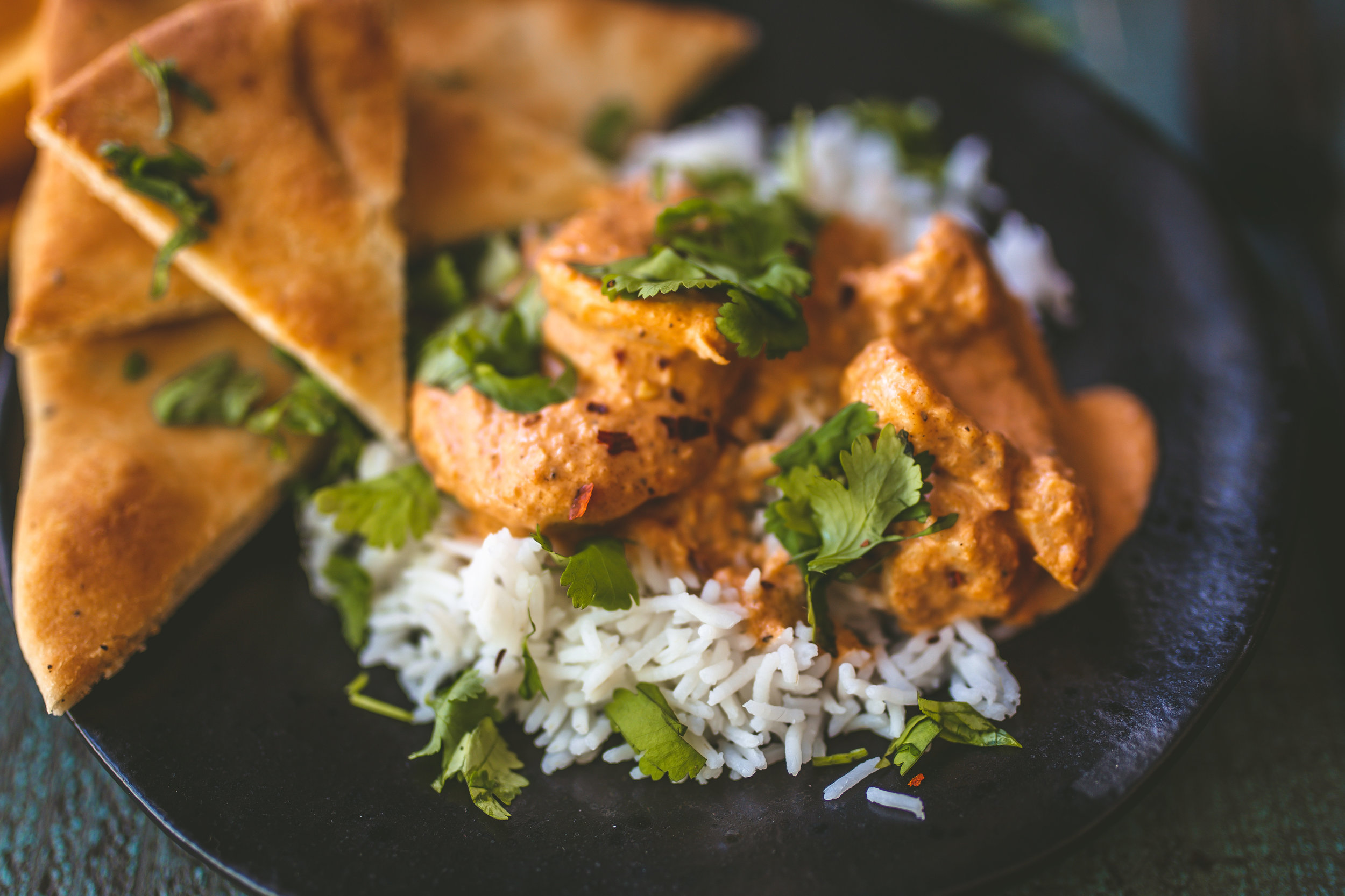 Traditionally made with chicken, Indian butter shrimp is  moderately spicy  and best served over  basmati rice with naan.