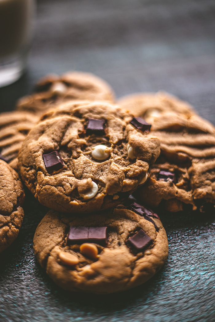 These chewy peanut butter cookies have three different types of chips. P