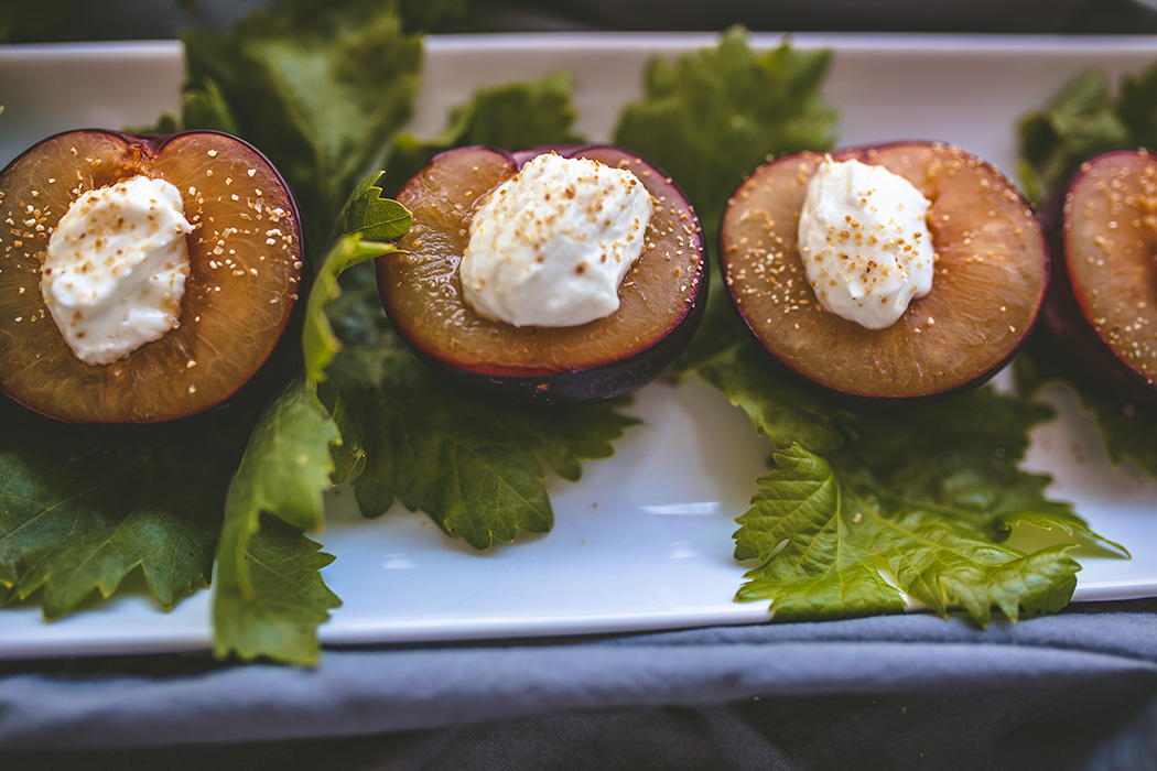 Maple Roasted Plums with Lemon Goat Cheese