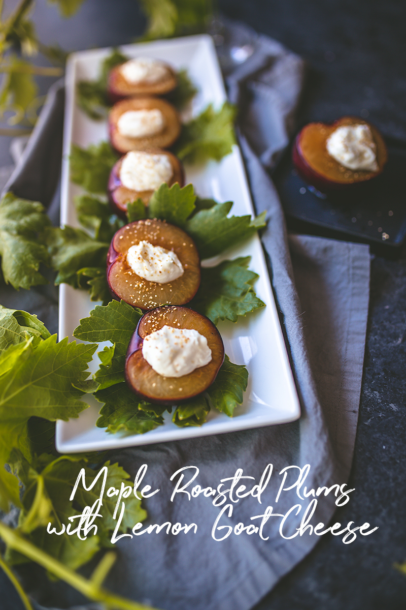 MapleOven- Roasted Plums with Goat Cheese make a great savory appetizer served for cocktail hour.
