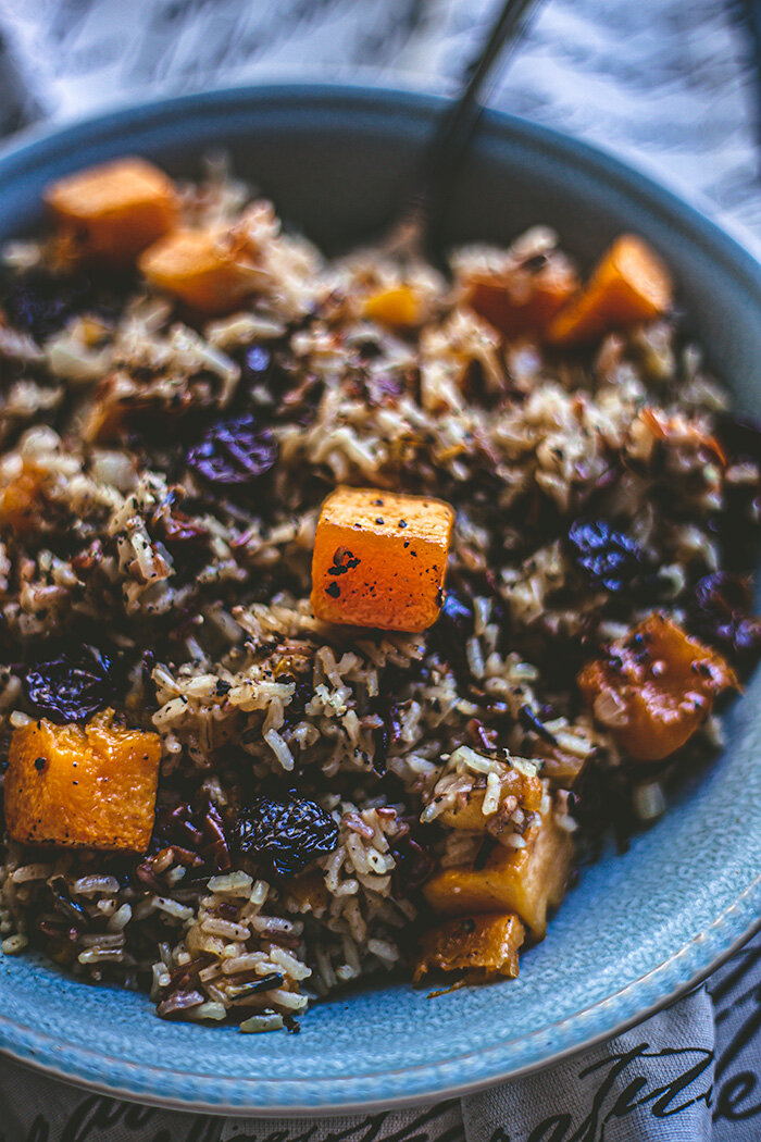 Wild rice with a hearty serving of roasted squash and dried apricots and cherries.