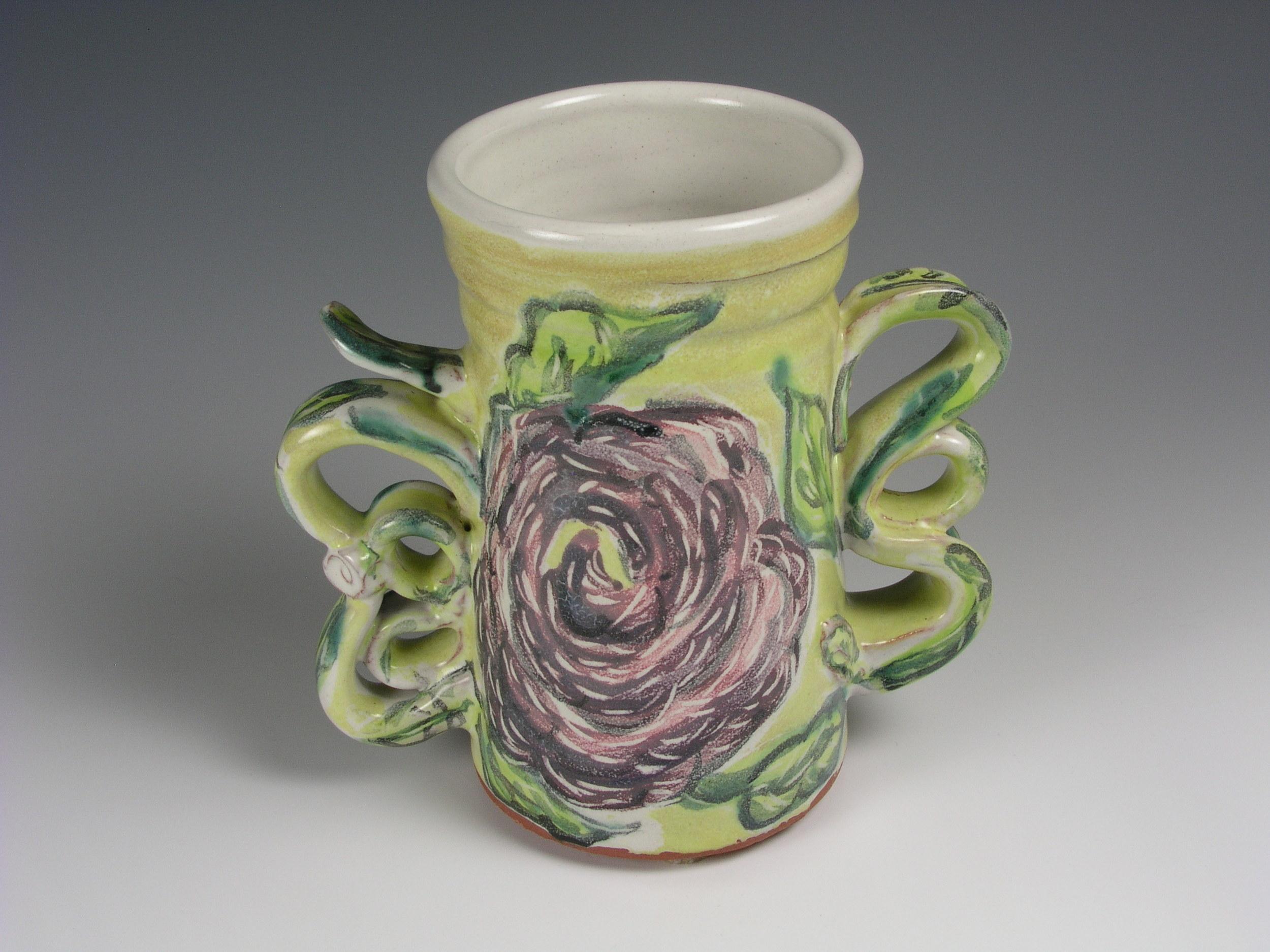 #5 - Majolica Floral Vase, View 1.JPG