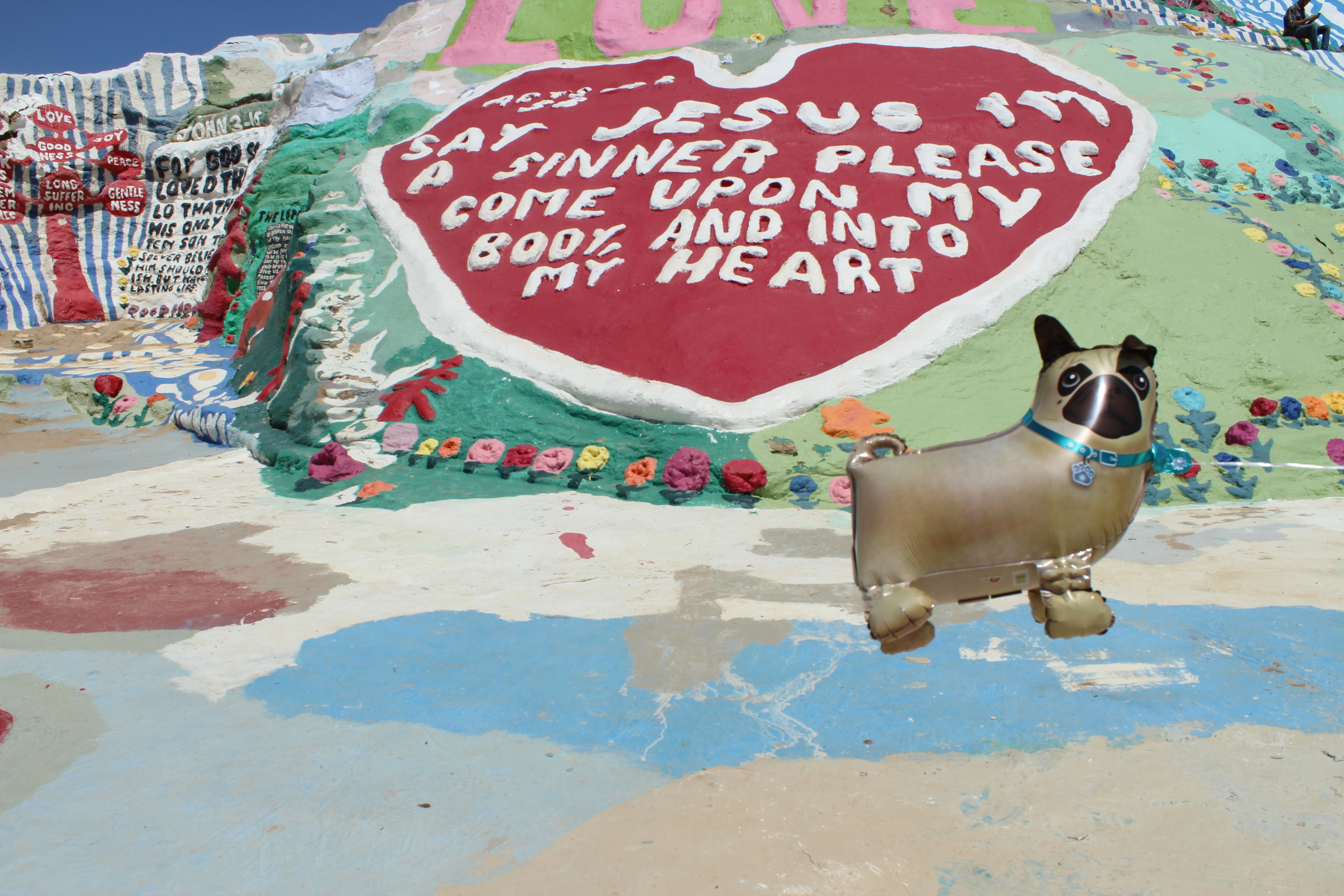 You don't need to own a Dodge Grand Caravan to bring the whole family to Salvation Mountain. Just look how happy Pug-A-Boo is to see the sights!