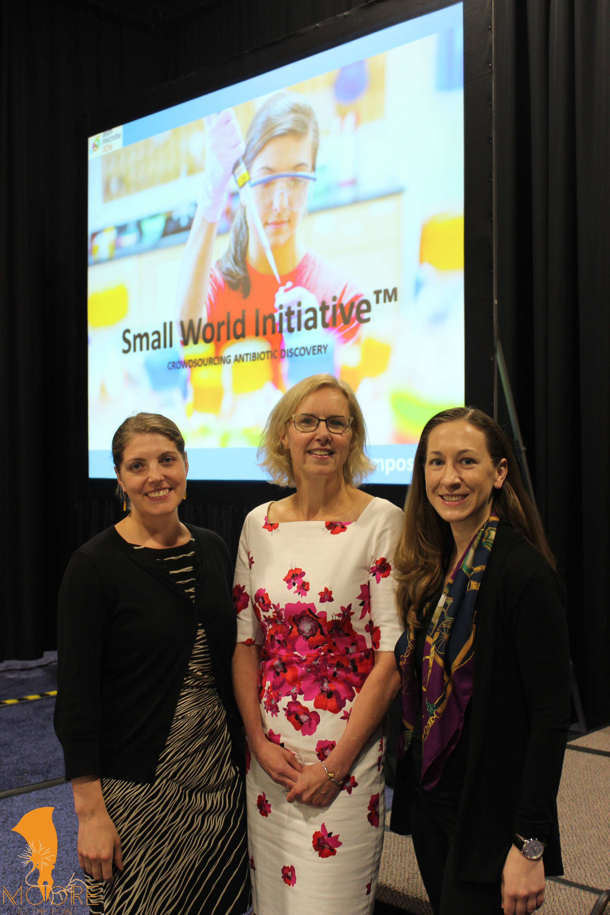 DR. SUSAN K. WHORISKEY (CENTER) WITH DR. NICHOLE BRODERICK (LEFT) – ASSISTANT PROFESSOR OF MOLECULAR AND CELL BIOLOGY AT THE UNIVERSITY OF CONNECTICUT – AND ERIKA KURT (RIGHT) – SMALL WORLD INITIATIVE PRESIDENT & CEO – AT SWI'S ANNUAL SYMPOSIUM AT ASM MICROBE IN BOSTON IN JUNE. (MEAGAN MOORE PHOTO)