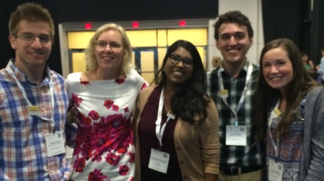 whoriskey (second from left) with small world initiative student researchers from the university of pittsburgh at swi's 3rd annual symposium at asm microbe in boston.