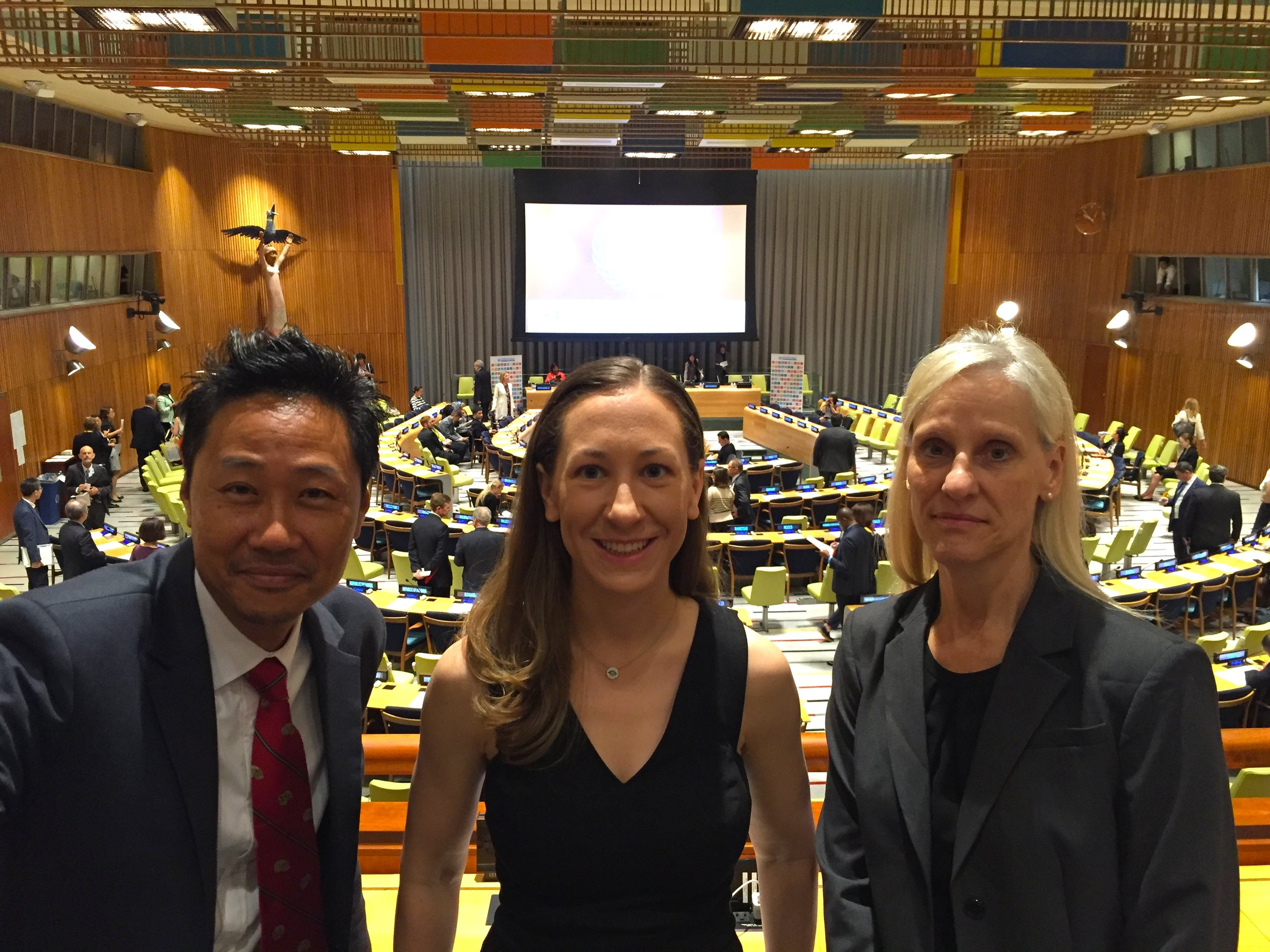 FROM RIGHT: ASM PRESIDENT SUSAN SHARP, ERIKA KURT, WFNS5 WHO LIAISON KEE PARK