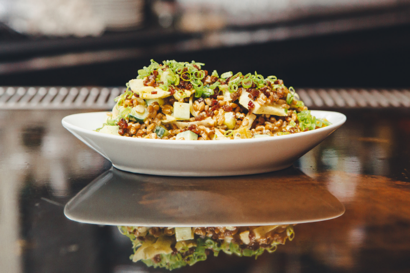 Farro, cucumber, pickled leeks, house-made Madras curry yogurt sauce, lamb lardons...the combination makes for a surprisingly complex, umami salad.