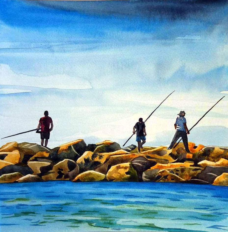 """Netanya Fishermen"" watercolour on board, 8x8"",  SOLD"