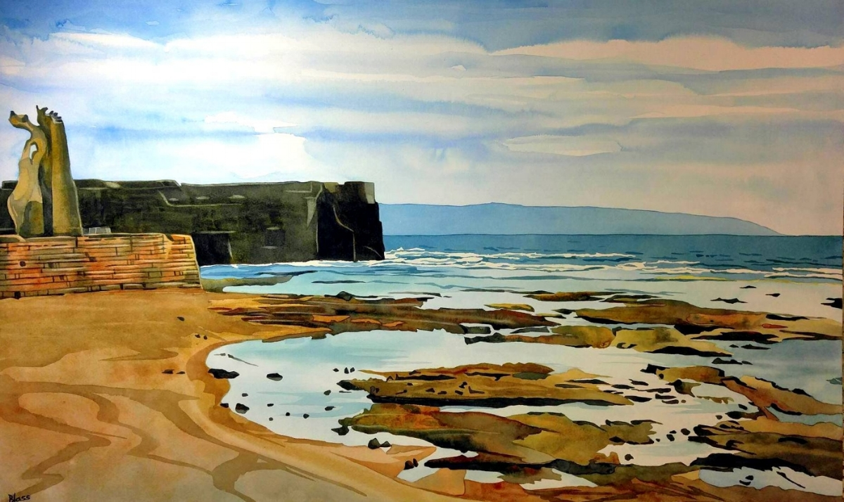 """Akko Beach (Echo Beach)""  watercolour on board, 20x32"""