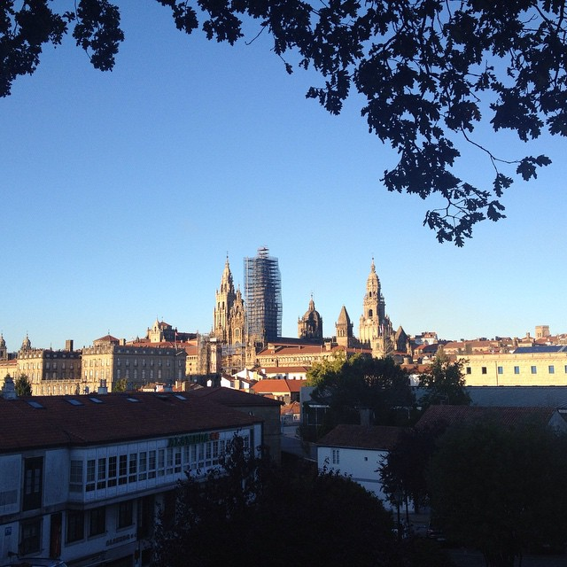 A view of the Santiago de Compostela skyline, which is dominated by numerous bell towers and ecclesiastical buildings.