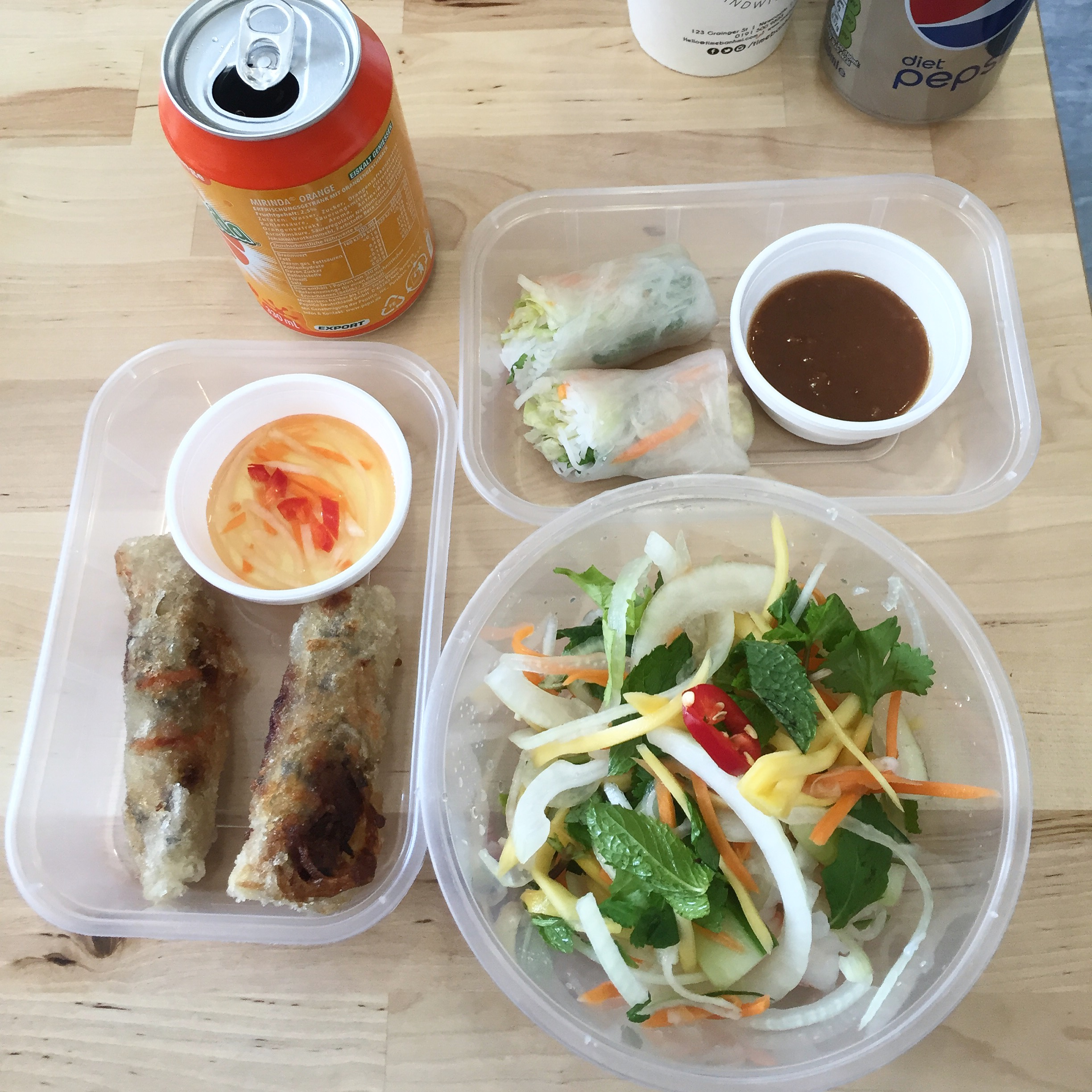 A selection of lunch things from Time Banhmi