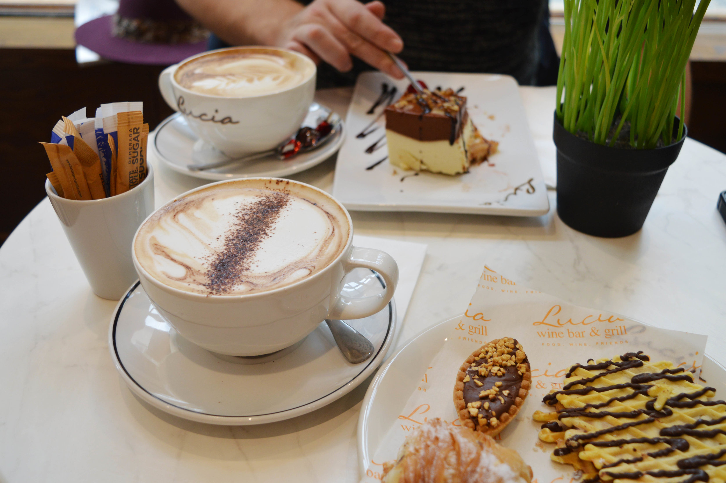 Coffee and cake at Lucia's patisserie York