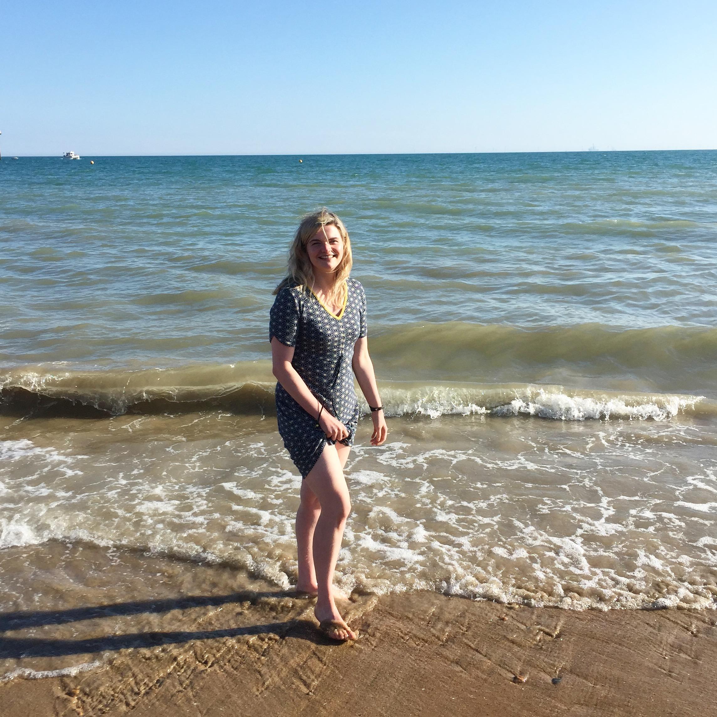 Paddling in the sea at Brighton