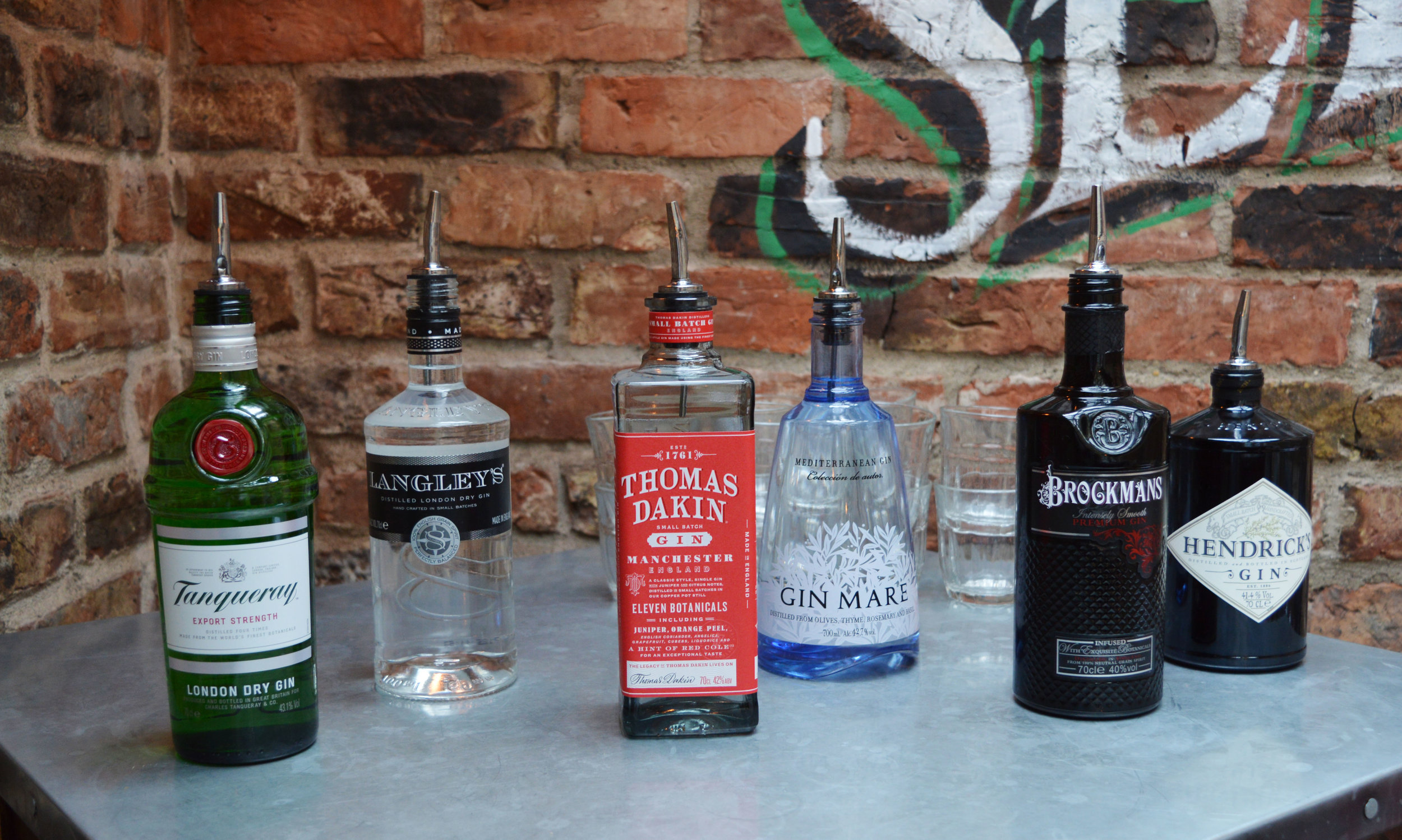 The six gins we tried.
