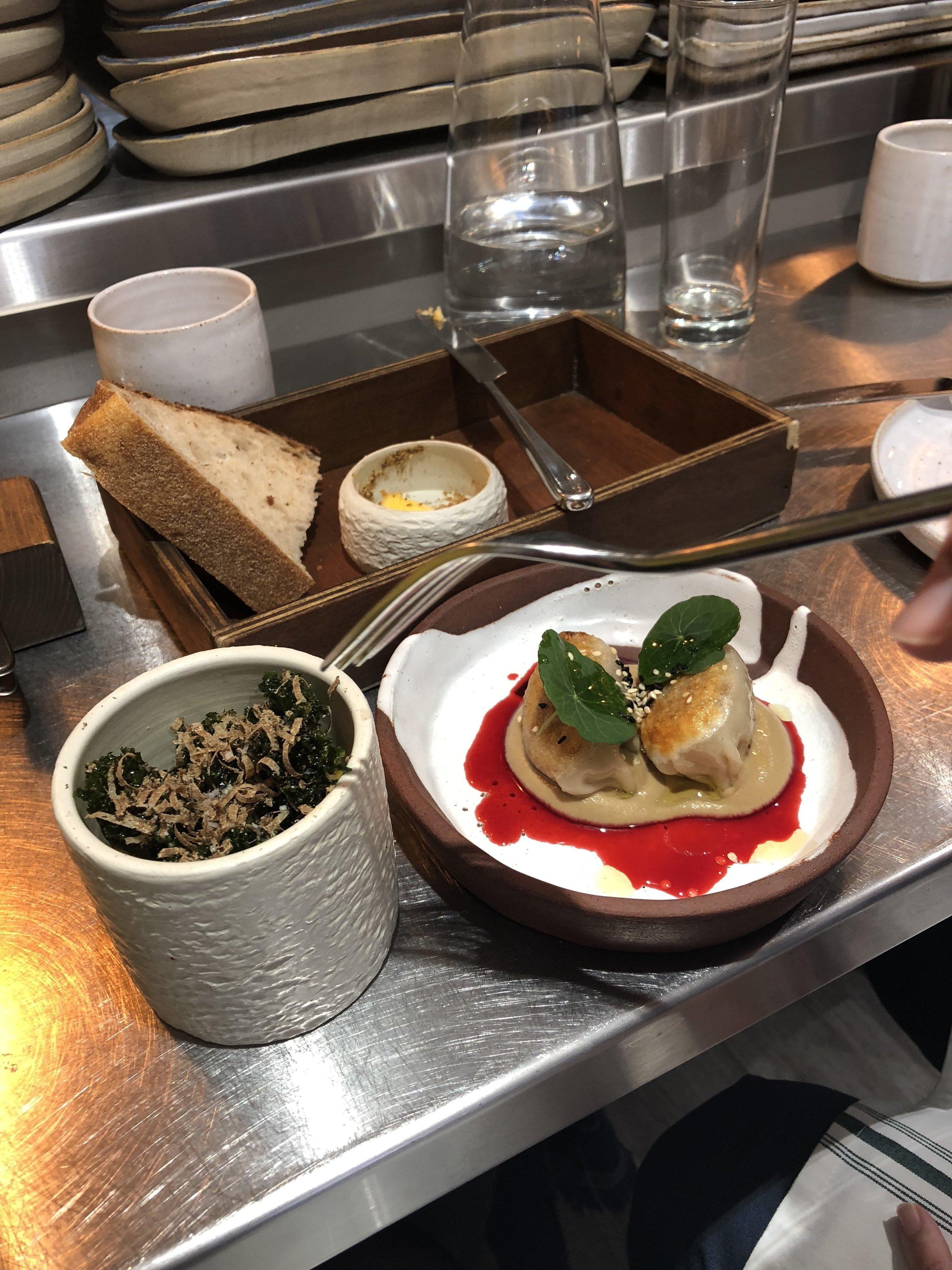 (left) pumpkin chawanmushi with kale & black truffle (right) venison dumplings, cep puree & elderberry vinegar