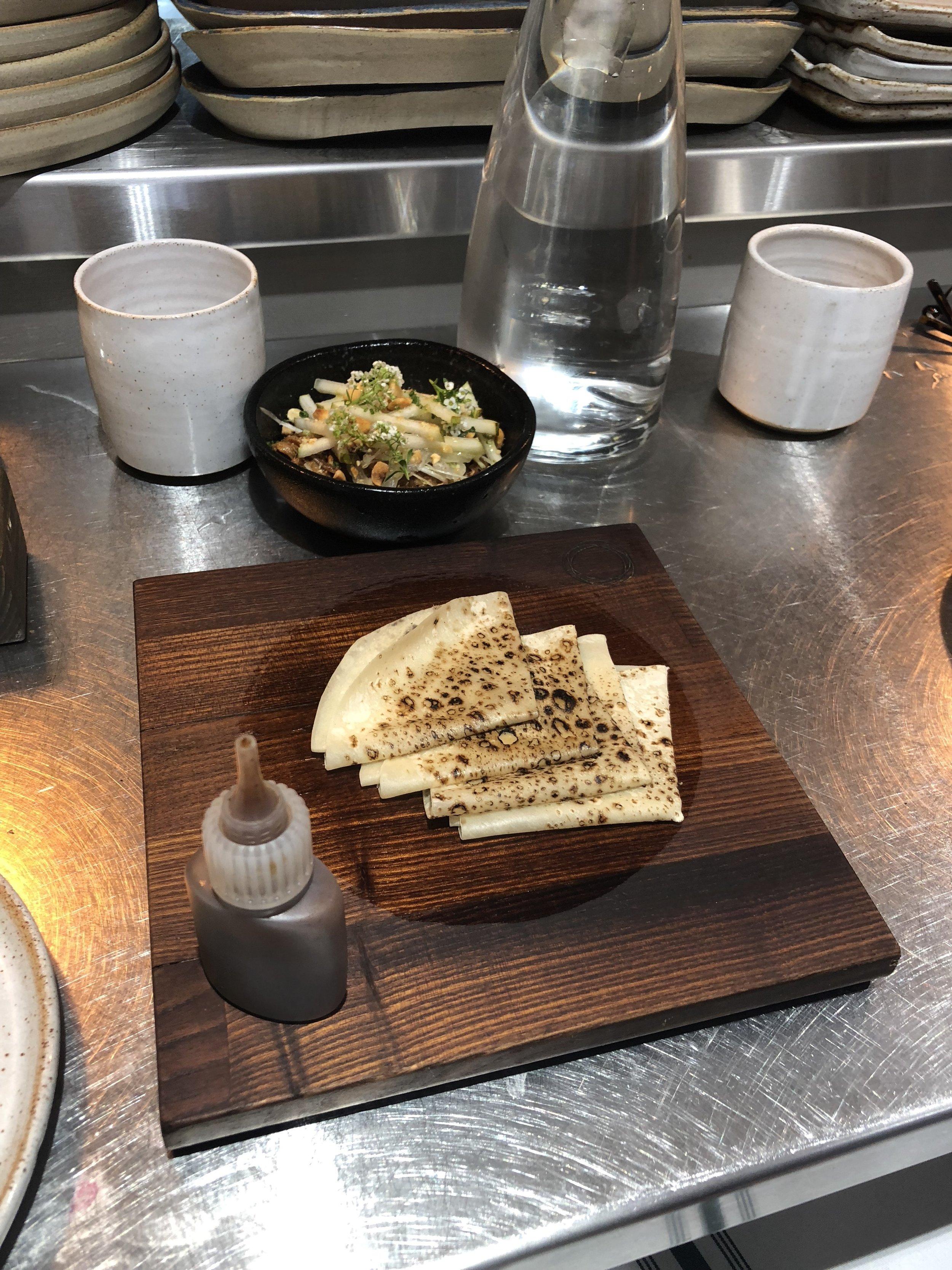 sticky lamb pancakes, pear hoi-sin & hazelnut