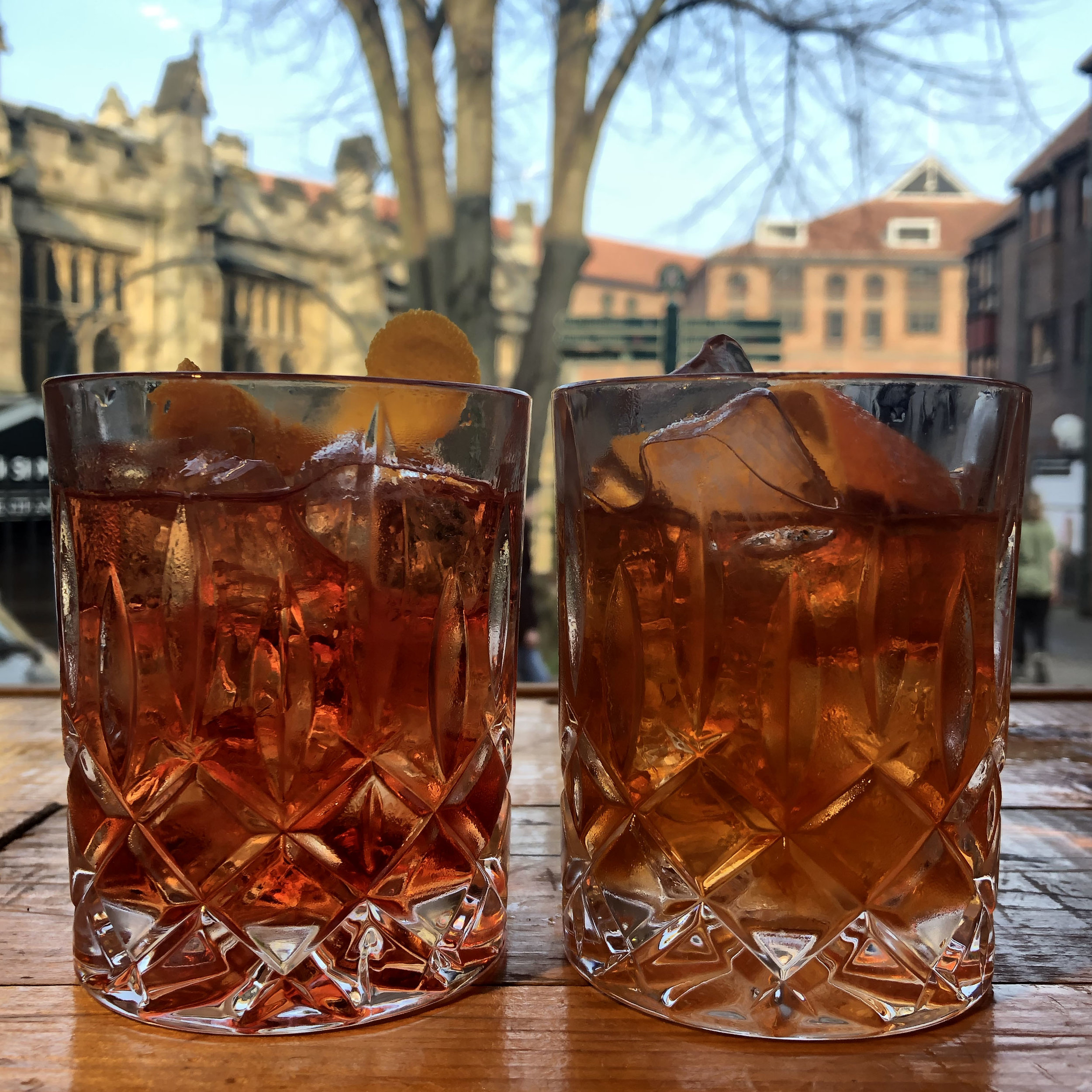 Cocktails at Pairings: Negroni (left) and an Old Fashioned (right)
