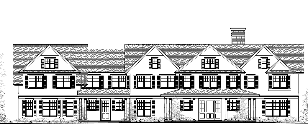 Front exterior view of this JTA designed home. This +/- 6,000 square foot Watermill home is currently in the works and is soon to start construction.