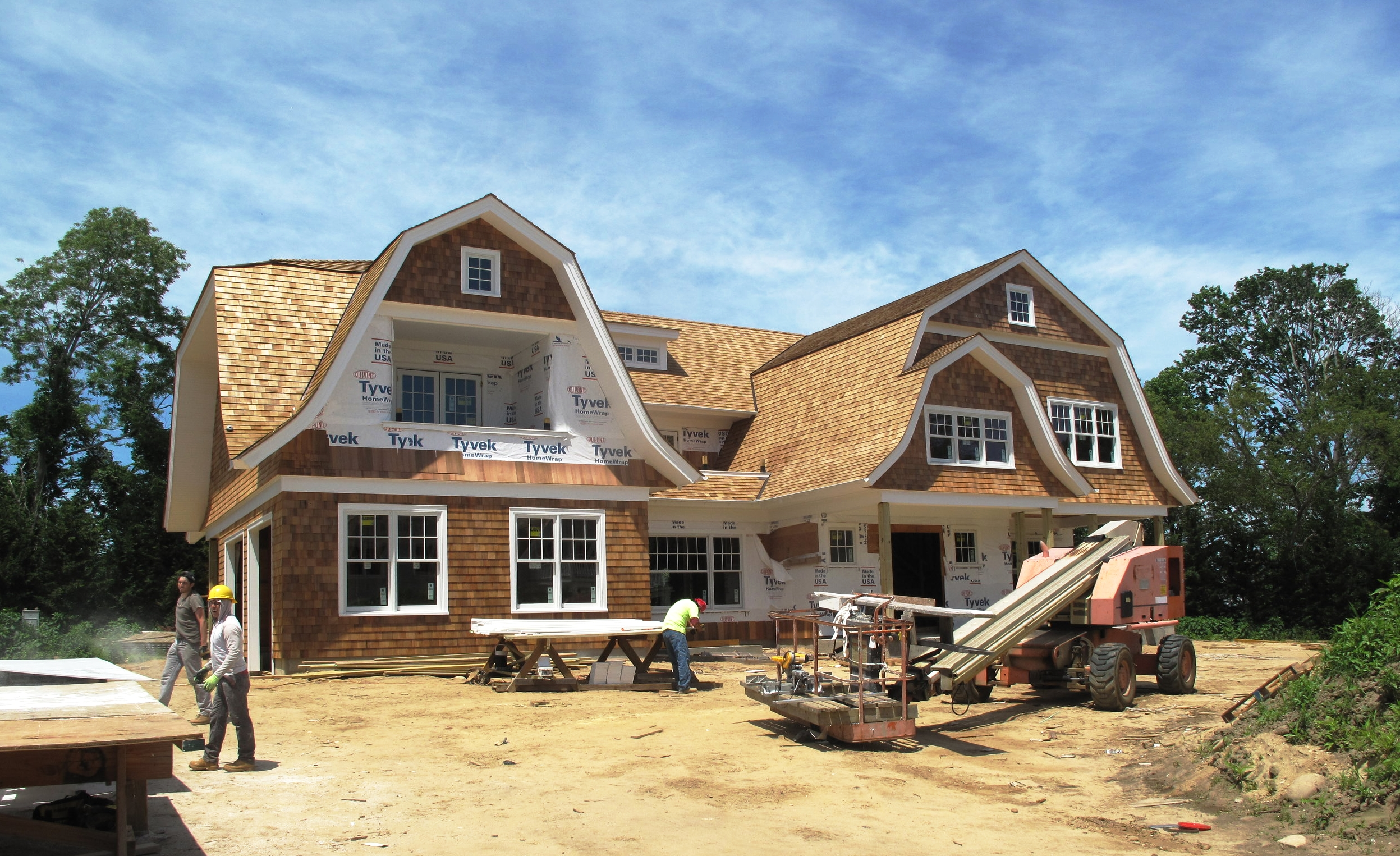 Shingle roof and siding complete on this new single family residence located in the Village of Southampton, NY.