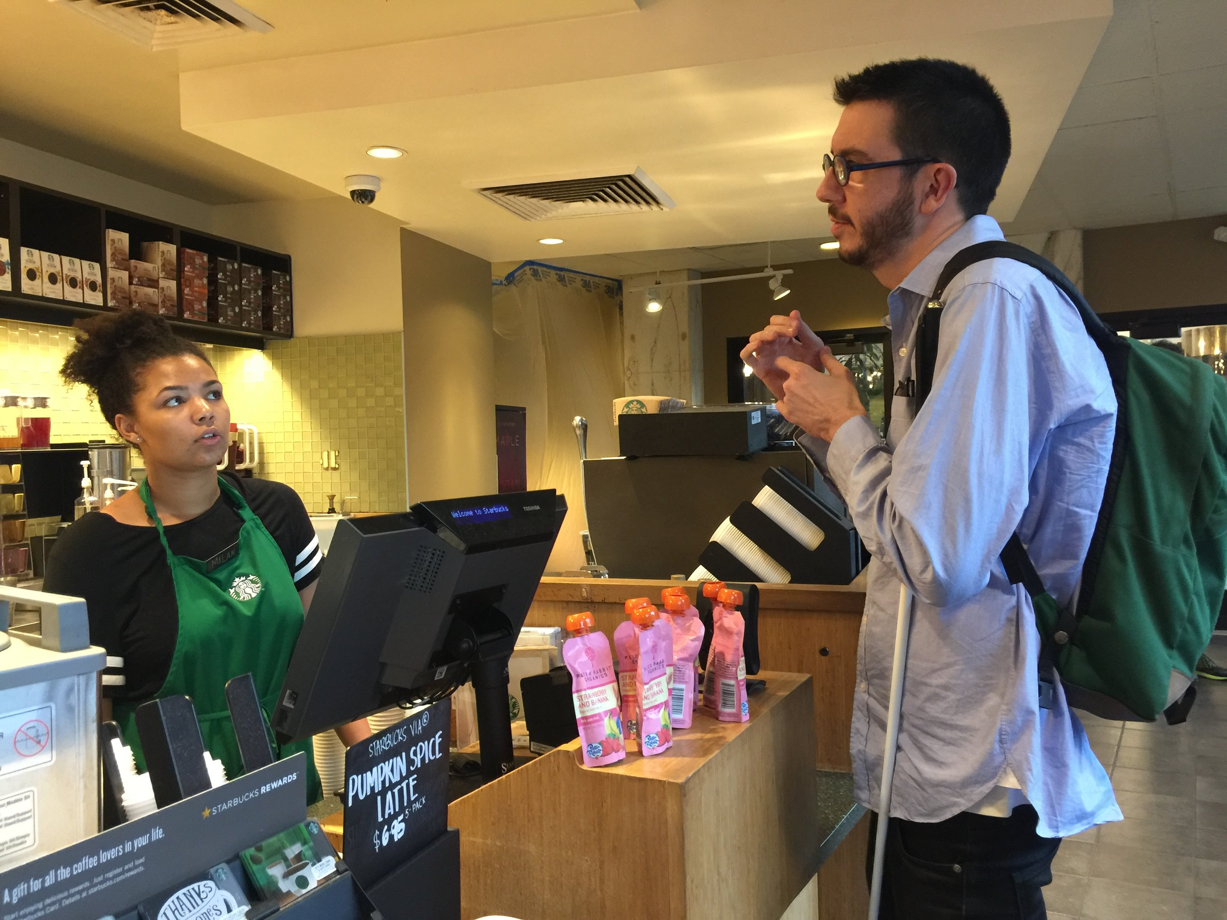 Will Interacting with a Starbucks cashier.