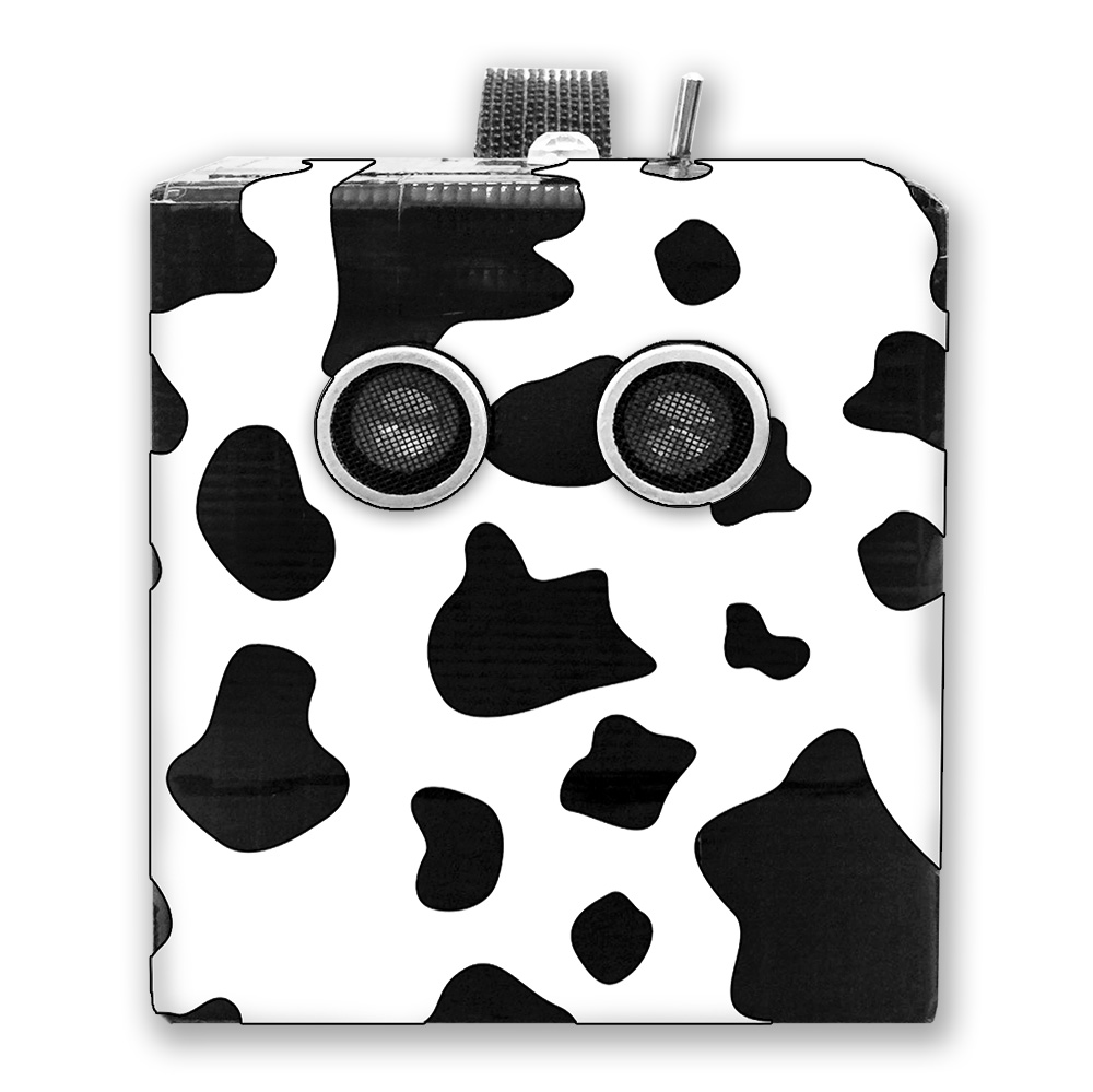 Inspired by a cow finger glove Will was playing with during the interview, we decided to wrap Arnold in a cow spots pattern.